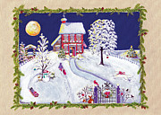 Snowy Night Night Posters - Annes Snow House Poster by Deborah Burow