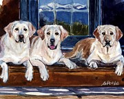 Yellow Dogs Framed Prints - Annie and her Sisters Framed Print by Molly Poole