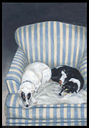 Puppies Drawings Framed Prints - Annie and Spike Napping Framed Print by Diana Moses Botkin