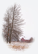 Winter Scene Photo Prints - Annies Barn Print by Pamela Baker