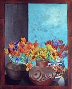 Crocks Paintings - Annies Flowers by Yvonne Gillengerten