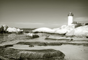 White Lighthouse Prints - Annisquam Lighthouse  Print by Jim  Calarese