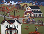 Folk Art Painting Framed Prints - Annual Barn Dance and Hayride Framed Print by Catherine Holman