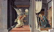 The Annunciation Painting Framed Prints - Annunciation 1 Framed Print by Sandro Botticelli