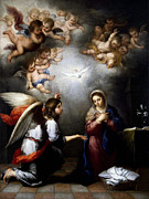 Annunciation Mixed Media Framed Prints - Annunciation Framed Print by Esteban Murillo