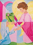 Annunciation Paintings - Annunciation by Judy Via-Wolff