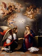 Religious Art Painting Prints - Annunciation Print by Murillo