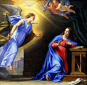 Annunciation Mixed Media Framed Prints - Annunciation Framed Print by Philippe de Champaigne