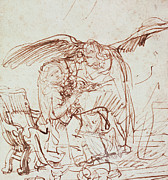 Wings Drawings Prints - Annunciation  Print by Rembrandt Harmenszoon van Rijn