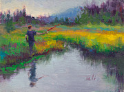 Lush Colors Painting Posters - Another Cast - fishing in Alaskan stream Poster by Talya Johnson