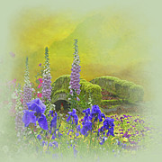Foxglove Flowers Digital Art Prints - Another Mythical Landscape Print by Jeff Burgess