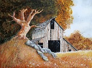 Wooden Building Painting Posters - Another Old Barn Poster by Michael Dillon