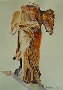 Greek Sculpture Painting Prints - Another perspective of The Winged Lady of Samothrace  Print by Geeta Biswas