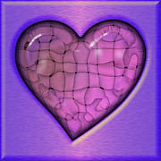 Abstract Hearts Digital Art - Another Purple Heart by Wendy J St Christopher