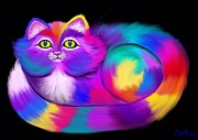 Kitty Digital Art - Another Rainbow Calico Cat by Nick Gustafson