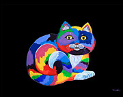 Felines Painting Prints - Another Rainbow Calico Print by Nick Gustafson