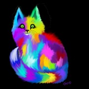 Whimsical Animals  Art - Another Rainbow Fluffy Cat by Nick Gustafson