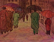 Umbrella Drawings Framed Prints - Another Walk in the Rain Framed Print by Christy Brammer