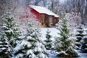 Wooden Building Posters - Another Wintry Barn Poster by Joan Carroll