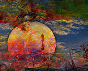 Moon Digital Art Posters - Another World Moon Abstract Poster by J Larry Walker