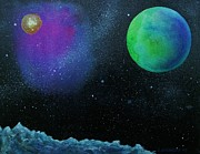 Outer Space Painting Framed Prints - Another World - SOLD Framed Print by Lou Cicardo