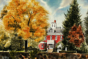 Autumn Scene Mixed Media Prints - Antebellum Autumn II Print by Kip DeVore