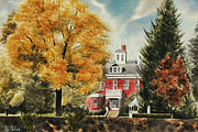 Church Painting Originals - Antebellum Autumn Ironton Missouri by Kip DeVore