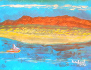 Richard W Linford Painting Posters - Antelope Island Great Salt Lake Utah 1 Poster by Richard W Linford