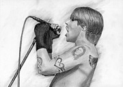 Anthony Kiedis Prints - Anthony Kiedis Print by Amina Belhadj