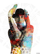 Anthony Kiedis Prints - Anthony Kiedis of Red Hot Chilli Peppers Print by Jessica Echevarria