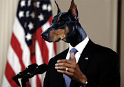 Anthropomorphic President Barack Obama With A Doberman Dog Head In A Digital Art Collage Print by Marian Voicu