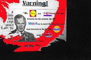 Companies Prints - Anti-Gulf War sign linking President George HW Bush and oil companies Tucson 1991 color added Print by David Lee Guss