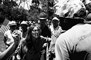 Confronting Art - Anti-Viet Nam War protestor confronting marine pro-war march Tucson Arizona 1970 black and white by David Lee Guss