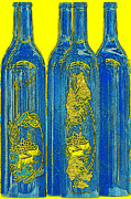 French Wine Bottles Prints - Antibes Blue Bottles Print by Ben and Raisa Gertsberg
