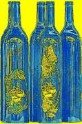 Antibes Blue Bottles Print by Ben and Raisa Gertsberg