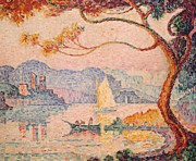 Sailboat Ocean Paintings - Antibes  Petit Port de Bacon by Paul Signac