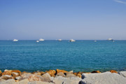 Coastal Scene Prints - Antibes - Superyachts of Billionaires Print by Christine Till