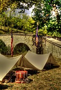 Yankee Division Prints - Antietam - 8th Connecticut Volunteer Infantry-A1 Encampment Near the Foot of Burnsides Bridge Print by Michael Mazaika