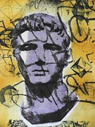 Statue Portrait Mixed Media Prints - Antinous I Print by Carmine Santaniello