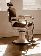 Antiquated Framed Prints - Antiquated Barber Chair in Sepia Framed Print by Mary Deal