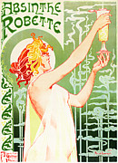 Lithograph Framed Prints - Antique Absinthe Robette Ad 3 Framed Print by The  Vault