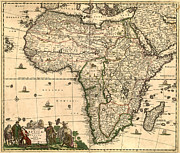 Antique Map Digital Art Posters - Antique Africa Map Poster by Gary Grayson