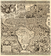 Antique Map Digital Art Posters - Antique America Map Poster by Gary Grayson