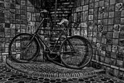 Byzantine Photo Metal Prints - Antique Bicycle BW Metal Print by Susan Candelario