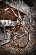 Barns Posters - Antique Bicycle Poster by Debra and Dave Vanderlaan