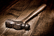 Wooden Metal Prints - Antique Blacksmith Hammer Metal Print by Olivier Le Queinec
