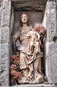 Sacred Metal Prints - Antique Blessed Virgin Statue Metal Print by Olivier Le Queinec