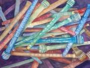 Antiques Paintings - Antique Bobbins by Beth Fontenot