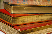 Rice Papers Photo Framed Prints - Antique Books With Golden Coating Framed Print by Patricia Hofmeester
