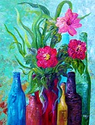 Teal Prints - Antique Bottles and Flowers Print by Eloise Schneider